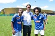 Brian da Conseicao, damaliger U21-Trainer Gerardo Seoane und Yago Oliveira. (Bild: Facebook)