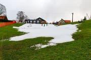Nur dort, wo die Schutzmatten lagen, ist trotz Regen und Wärme genügend Schnee liegengeblieben. (Bild: Rudolf Hirtl)
