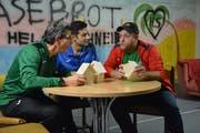 Bruno Beutler, Mike Heim und Thomas Greuter bei einer Probe für die Aufführungen im kommenden Jahr. (Bild: Monika Wick)