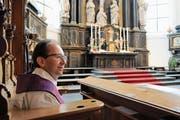 Ungewisse Zukunft: David Blunschi in der Pfarrkirche. (Bild: Oliver Mattmann (Stans, 14. Dezember 2018))