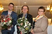 Im vergangenen Januar durfte Luc Kauf (Mitte) das Parlamentspräsidium von Vorgängerin Ursula Egli übernehmen. In rund zwei Wochen gibt er es nun wieder ab und zwar an den bisherigen Vizepräsidenten Marc Flückiger (links). (Bild: Hans Suter)