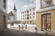 Ganz in der Nähe der Pfarrkirche von Entlebuch entsteht eine neue Überbauung. (Bild: Visualisierung)
