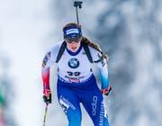 Biathletin Lena Häcki – eine Frau mit klaren Zielen für WM im kommenden März. (Bild: Stefan Adelsberger/Keystone (Hochfilzen, 15.Dezember 2018))