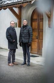 Vor der Klösterlikirche in Frauenfeld: der abtretende Präsident Lukas Leutenegger neben seinem Nachfolger per Anfang 2019, Thomas Harder. (Bild: Andrea Stalder)
