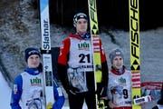 Das Podium: Anze Lanisek (SLO), Philipp Aschenwald (AUT), Markus Schniffner (AUT) (Bild: PD)