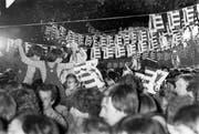 Jurassier feiern die am 24. September 1978 in Delémont ausgerufene Gründung ihres Kantons. (Bild: Keystone)