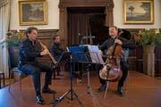 Das Ensemble Kandinsky mit Fabio di Càsola (links), Benjamin Engeli und Thomas Grossenbacher. (Bild: Corinne Glanzmann, 28. Dezember 2018)