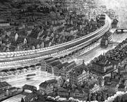 Hannes Binder verlängert den Calatrava-Bahnhof in Zürich Stadelhofen das ganze Limmatquai entlang. (Bild: Hannes Binder)