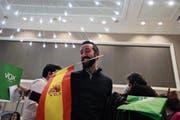 Vox-Leader Santiago Abascal feierte am Sonntag den Sieg seiner Partei. Bild: Rafa Alcaide/EPA (3. Dezember 2018)