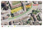 Plan der Y-Lösung mit Flanierzone und neuer Verkehrsführung. Visualisierung: Stadt Luzern