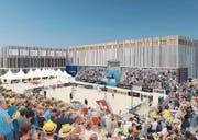 Die Visualisierung zeigt, wie ein mögliches Beachvolleyball-Turnier bei der Sandsporthalle in Zukunft einmal aussehen könnte. (Bild: PD)
