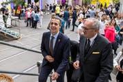 Bundesrat Ignazio Cassis (links) an der Eröffnung der Wirtschafts- und Erlebnismesse Uri 18 zusammen mit René Röthlisberger, Präsident Wirtschaft Uri. (Bild: Alexandra Wey/Keystone)