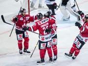 Torjubel von Team Canada, das am Spengler Cup einmal mehr im Final steht (Bild: KEYSTONE/SPENGLER CUP/MELANIE DUCHENE)