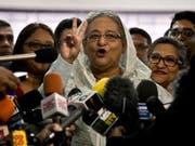Wahlerfolg: Sheikh Hasina wird Bangladesch weiterhin als Premierministerin führen. (Bild: KEYSTONE/AP/ANUPAM NATH)