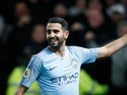 Manchester Citys algerischer Stürmer Riyad Mahrez freut sich über sein Tor zum 2:0 (Bild: KEYSTONE/AP/FRANK AUGSTEIN)