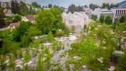 Gegensatz von Natürlichkeit und Künstlichkeit: Blick auf den Park des Naturmuseums im vergangenen Mai. (Bilder: Urs Bucher)