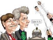 Viola Amherd und Karin Keller-Sutter sind gewählt, Hans Wicki und Heidi Z'graggen gehen leer aus. Karikatur: Silvan Wegmann
