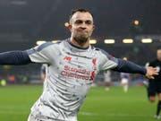 Xherdan Shaqiri schelmische Freude nach dem Tor gegen Burnley (Bild: KEYSTONE/AP PA/NIGEL FRENCH)