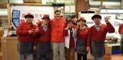 Elias Allenspach (Mitte) während den Olympischen Spielen in Pyeongchang. (Bild: PD)