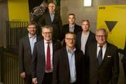 Das OK der «Uri 18»: vorne von links Christoph Bugnon, Urban Camenzind, Franz Kempf, René Röthlisberger, hinten von links Daniel Kaufmann, Bruno Arnold, Beat Marty. (Bild: PD)