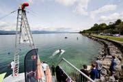 Blick auf eine Wakeboard-Anlage am Ufer des Genfersees. (Bild: Magali Girardin/Keystone, 2. Mai 2015)