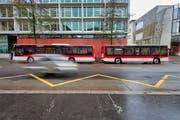 Ein Buszug der VBSG bei der Probefahrt am Donnerstag in St.Gallen. (Bild: Benjamin Manser/6. Dezember 2018)