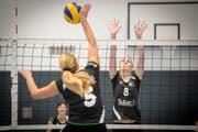 Die Spielerinnen des VBC Wittenbach zeigen im Training volles Engagement. Die Umstände sind allerdings nicht optimal. Bild: Benjamin Manser