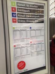 Auf dem St.Galler Bahnhofplätze hängen teilweise am Samstagmittag bereits die neuen Haltestellen-Beschriftungen und Fahrpläne der VBSG. (Bild: Reto Voneschen - 8. Dezember 2018)