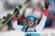 Freut sich nach der enttäuschenden Qualifikation über ihren dritten Rang: Wendy Holdener. (Bild: Gian Ehrenzeller/Keystone (St.Moritz, 9.12.2018))