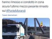 Der letzte: Am Samstag rollte vier Monate nach dem Einsturz der letzte verbliebene Lastwagen von der Unglücksbrücke in Genua. (Bild: Sreenshot Vigili del Fuoco)