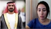 Prinzessin Latifa al Maktoum (rechts) erhob in einem im Internet veröffentlichten Video, schwere Vorwürfen gegen ihren Vater Scheich Mohammed bin Rashid al-Maktoum. (Bild: Screenshot)