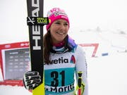 Wendy Holdener freut sich nach ihrem 3. Platz in St. Moritz (Bild: KEYSTONE/EPA KEYSTONE/GIAN EHRENZELLER)