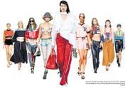 Von links: Modelle von Prada, Chloé, Versace, Moschino, Off-White, Dolce & Gabbana, Tommy Hilfiger, Stella McCartney, Alexander Wang. (Bild: PD)