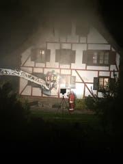 Einsatzkräfte der Feuerwehr bekämpfen den Brand. (Bild Feuerwehr Ebikon-Dierikon)