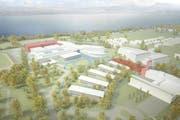Der rot markierte Bereich wird neu gebaut. (Bild: Visualisierung Architekturbüro Hemmi Fayet)