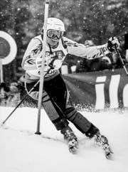 Die Skirennfahrerin Corinne Schmidhauser am 15. Februar 1987 am Slalom-Weltcup in Flühli. (Bild: Keystone / Str)