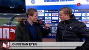 Christian Eyer im Casting-Finale beim Live-Interview mit GC-Spieler Moritz Bauer. (Bild: Screenshot)