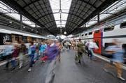Der Verein gegen Tierfabriken darf im Bahnhof Luzern Flugblätter verteilen. (Bild: Remo Nägeli/LZ)