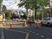 Der Verkehr wird einspurig geführt. (Bild: Charleen Bretteville (Luzern, 26. Juli 2017))