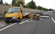 Die Unfallstelle auf der A2 bei Knutwil. (Bild: Luzerner Polizei)