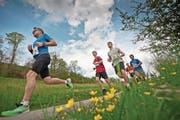 Mit dem Rotseelauf in Ebikon (Bild) startet morgen Samstag die Saison der Strassenläufe. Das nächste Highlight ist der Luzerner Stadtlauf, der Ende April (29.) auf dem Programm steht. (Bild: Pius Amrein (Ebikon, 12. April 2014))