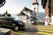 Sicherheitsoptimierungen werden auch im Bereich der Ausfahrt vom Kirchenplatz vorgeschlagen. (Bild: Florian Arnold (Bürglen, 12. Februar 2014))