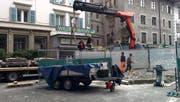 Der Krienbachbrunnen wurde für die Bauarbeiten vorübergehend abgebaut. (Bild: Facebook Stadt Luzern)