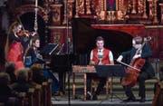 Das Trio Fontane und Nicolas Senn am Hackbrett fanden wunderbar zueinander. (Bild: Peter Fischli/Swiss Chamber Music Circle (28. März 2018))