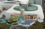 So stellten sich die Architekten den Bereich mit dem Erlebnisbad vor. (Visualisierung pd)