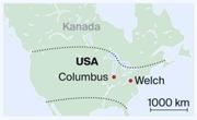 Zwei Städte, zwei Welten: Während Columbus das Gegenmodell zu Trumps Wirtschaftspolitik bildet und boomt, ist die Wirtschaft in Welch aus Sicht einer Ladenmitarbeiterin zusammengebrochen. (Bild: Karte: dem)