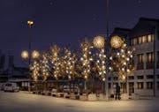 Erweiterte Weihnachtsbeleuchtung im Dorfzentrum Rotkreuz. (Bild: Visualisierung: PD)