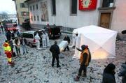 Bei den Dreharbeiten zum Tatort auf dem Kapellplatz. (Bild: Philipp Schmidli / Neue LZ)