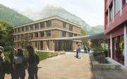 Visualisierung des Erweiterungsbau des Urner Berufsbildungzentrums. (Bild: Visualisierung PD)