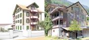So sieht das Projekt des Sarner Architekten Beda Dillier aus (links). Das Majorenhaus bietet heute keinen schönen Anblick. (Bilder PD / Robert Hess / Neue OZ)